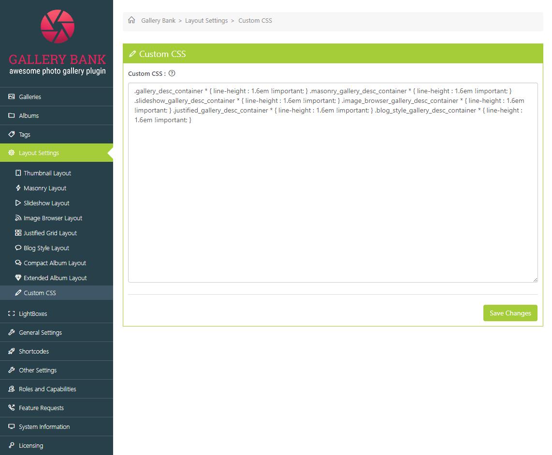 Layout Settings - Custom CSS   Documentation   Gallery Bank